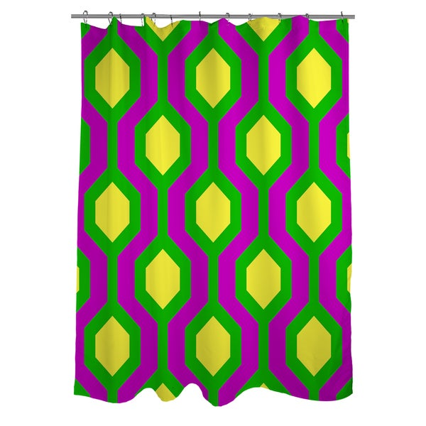 Neon Party Honeycomb Pattern Shower Curtain