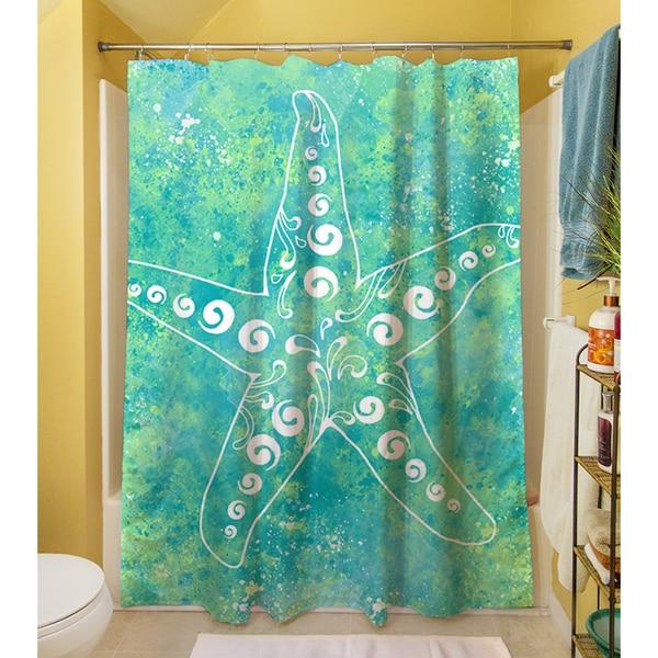 Sponge Paint Starfish Shower Curtain