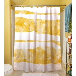 Summer Florals Yellow Stripe Shower Curtain