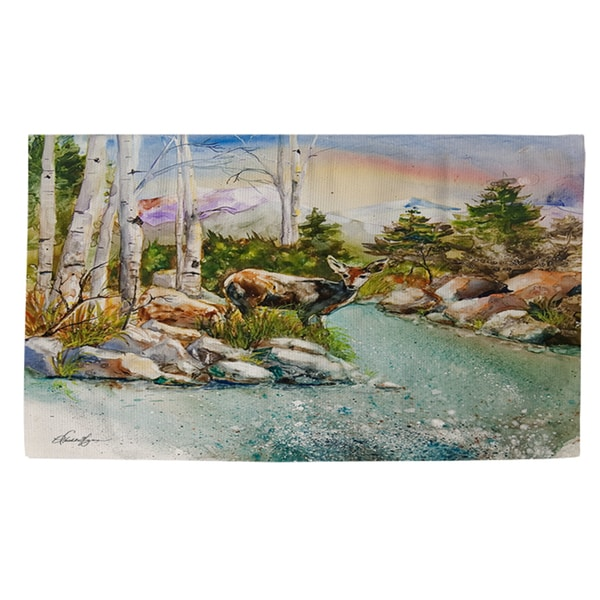 Fawn at Mountain Stream Rug - 4' x 6'