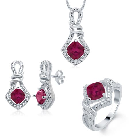 Divina Rhodium over Brass Birthstone Diamond Accent 3-piece Jewelry Set