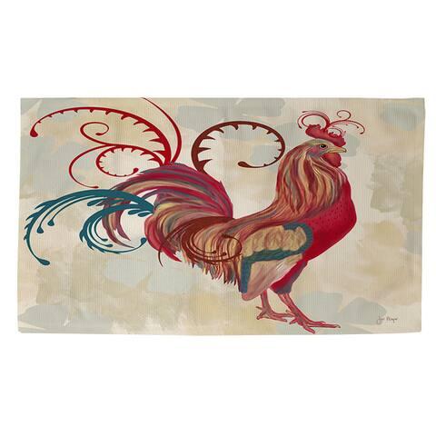 Teal Rooster I Rug