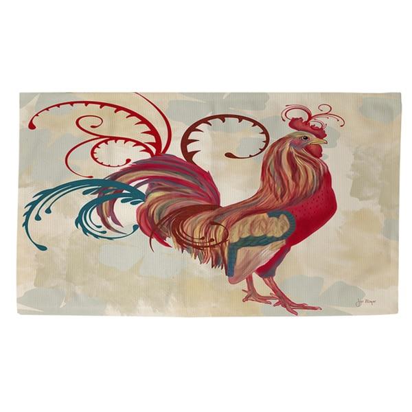 Teal Rooster I Rug (4' x 6')