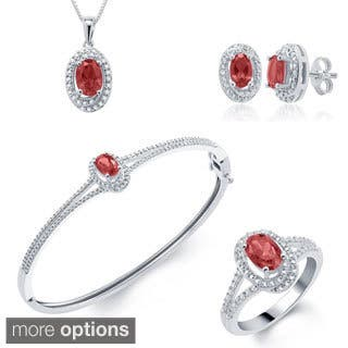 Divina Rhodium-plated Gemstone Diamond Accent 4-piece Jewelry Set|https://ak1.ostkcdn.com/images/products/10109145/P17249185.jpg?impolicy=medium