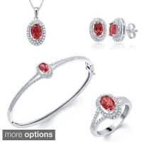 Divina Rhodium-plated Gemstone Diamond Accent 4-piece Jewelry Set