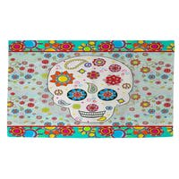 Sugar Skull Colored Box Rug - multi