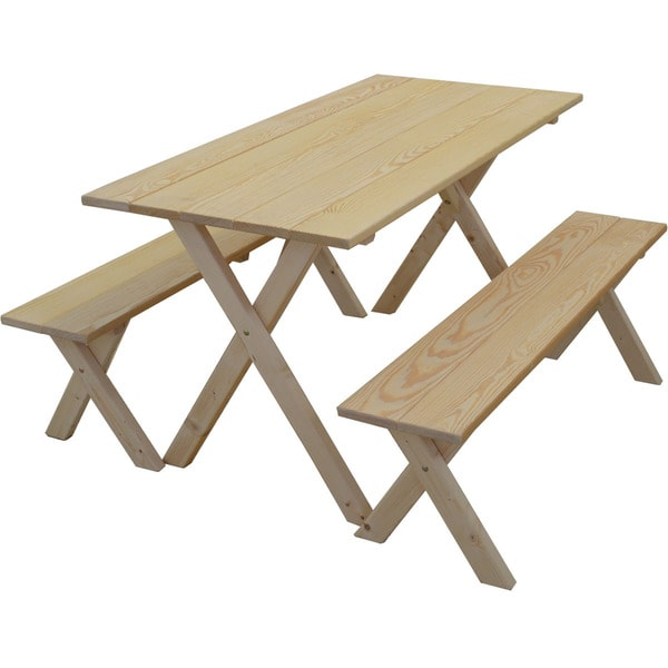 5-foot Pine Classic Picnic Table Set  sc 1 st  Overstock.com & 5-foot Pine Classic Picnic Table Set - Free Shipping Today ...