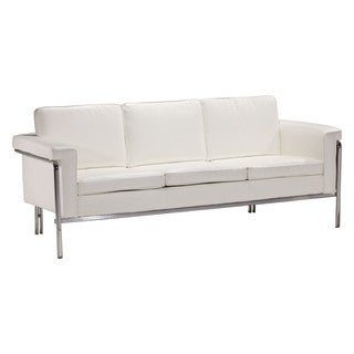 Alicia White Black Faux Leather Modern Sofa Free