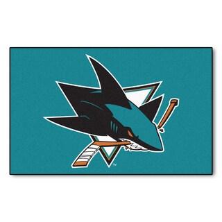 Fanmats Machine-made San Jose Sharks Turquoise Nylon Ulti-Mat (5' x 8')