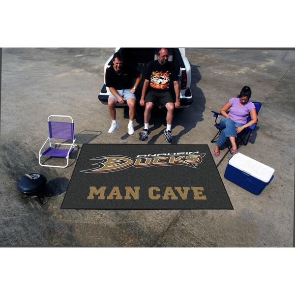 Fanmats Machine-made Anaheim Ducks Black Nylon Man Cave Ulti-Mat (5' x 8')