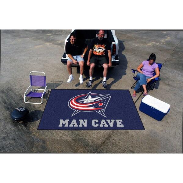 Fanmats Machine-made Columbus Blue Jackets Blue Nylon Man Cave Ulti-Mat (5' x 8')