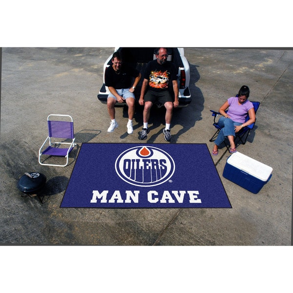 Fanmats Machine-made Edmonton Oilers Blue Nylon Man Cave Ulti-Mat (5' x 8')