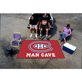 Fanmats Machine-made Montreal Canadiens Red Nylon Man Cave Ulti-Mat (5' x 8')
