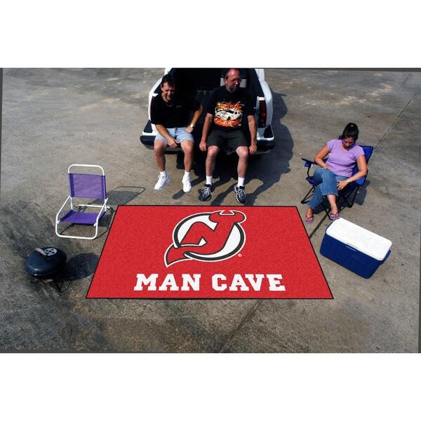 Fanmats Machine-made New Jersey Devils Red Nylon Man Cave Ulti-Mat (5' x 8')
