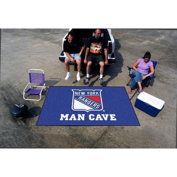 Fanmats Machine-made New York Rangers Blue Nylon Man Cave Ulti-Mat (5' x 8')