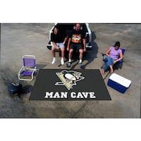 Fanmats Machine-made Pittsburgh Penguines Black Nylon Man Cave Ulti-Mat (5' x 8')