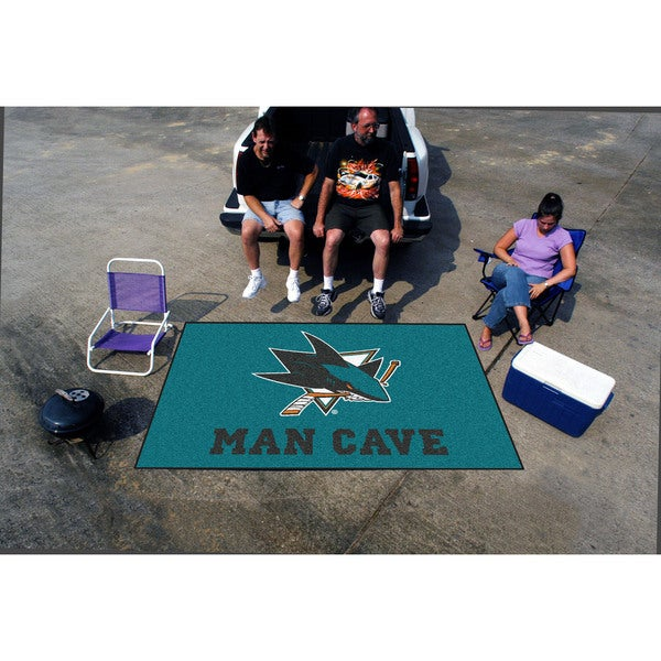 Fanmats Machine-made San Jose Sharks Turquoise Nylon Man Cave Ulti-Mat (5' x 8')