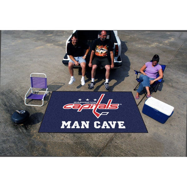Fanmats Machine-made Washington Capitals Blue Nylon Man Cave Ulti-Mat (5' x 8')