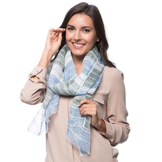 Blue and Green Striped Linen Scarf (India)