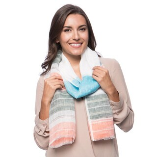 Green and Orange Striped Linen Scarf (India)