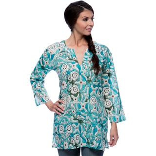 Handmade Women's Sea Blues and Gren Splash Cotton Tunic (India)