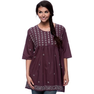 Women's Purple and Grey Embroidered Tunic (India)