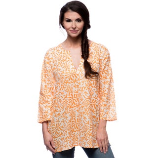 Women's Rust Flowers Orange and White Cotton Tunic (India)