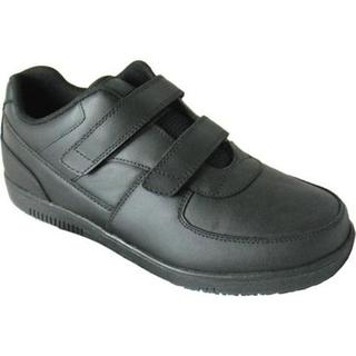 Men's Genuine Grip Footwear Slip-Resistant Injection Adjustables Black Leather