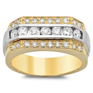 14k Gold Men's 1 1/3ct TDW Diamond Wedding Ring (F-G, SI1-SI2)