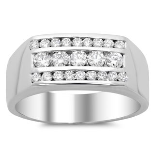 14k White Gold Men's 1 ct TDW Diamond Ring (E-F, SI1-SI2)