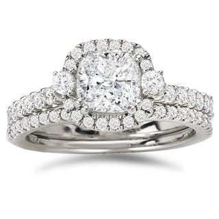Avanti 14k White Gold 1 3/5ct TDW Certified Cushion-cut Diamond Halo Bridal Ring Set (G-H, SI1-SI2)