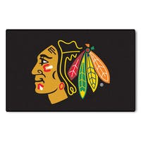 Fanmats Machine-made Chicago Blackhawks Black Nylon Ulti-Mat (5' x 8')