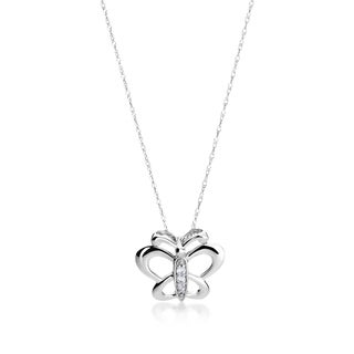 SummerRose 14k White Gold Diamond Accent Butterfly Necklace