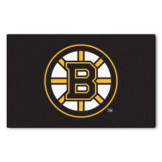 Fanmats Machine-made Boston Bruins Black Nylon Ulti-Mat (5' x 8')