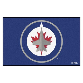 Fanmats Machine-made Winnipeg Jets Blue Nylon Ulti-Mat (5' x 8')