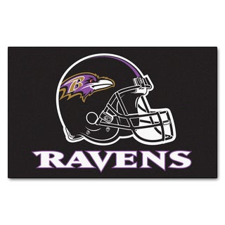 Fanmats Machine-made Baltimore Ravens Black Nylon Ulti-Mat (5' x 8')