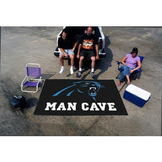 Fanmats Machine-made Carolina Panthers Black Nylon Man Cave Ulti-Mat (5' x 8')