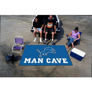 Fanmats Machine-made Detroit Lions Blue Nylon Man Cave Ulti-Mat (5' x 8')