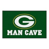 Fanmats Machine-made Green Bay Packers Green Nylon Man Cave Ulti-Mat (5' x 8')