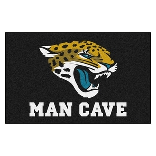 Fanmats Machine-made Jacksonville Jaguars Black Nylon Man Cave Ulti-Mat (5' x 8')
