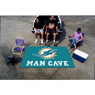 Fanmats Machine-made Miami Dolphins Turquoise Nylon Man Cave Ulti-Mat (5' x 8')