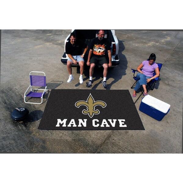 Fanmats Machine-made New Orleans Saints Black Nylon Man Cave Ulti-Mat (5' x 8')