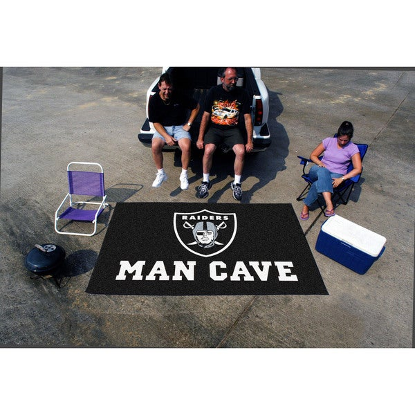 Fanmats Machine-made Oakland Raiders Black Nylon Man Cave Ulti-Mat (5' x 8')