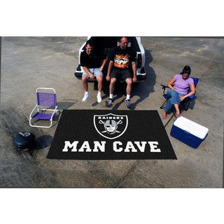 Fanmats Machine-made Oakland Raiders Black Nylon Man Cave Ulti-Mat (5' x 8')