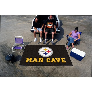 Fanmats Machine-made Pittsburgh Steelers Black Nylon Man Cave Ulti-Mat (5' x 8')