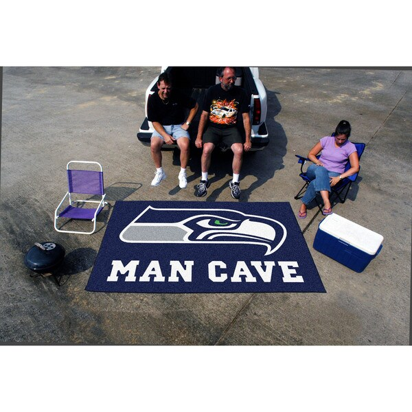 Fanmats Machine-made Seattle Seahawks Blue Nylon Man Cave Ulti-Mat (5' x 8')
