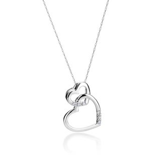 SummerRose 14k White Gold Diamond Accent Interlocking Heart Necklace ( H-I, SI1-SI2)
