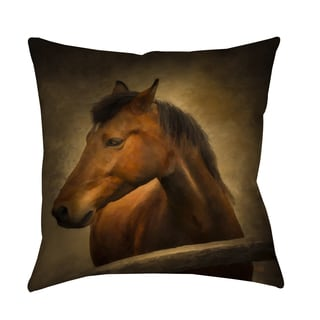 Chestnut Horse at Fence Decorative Pillow