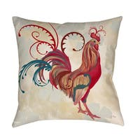 Teal Rooster I Decorative Throw Pillow
