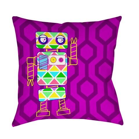 Neon Party Fuchsia Robot Decorative Pillow